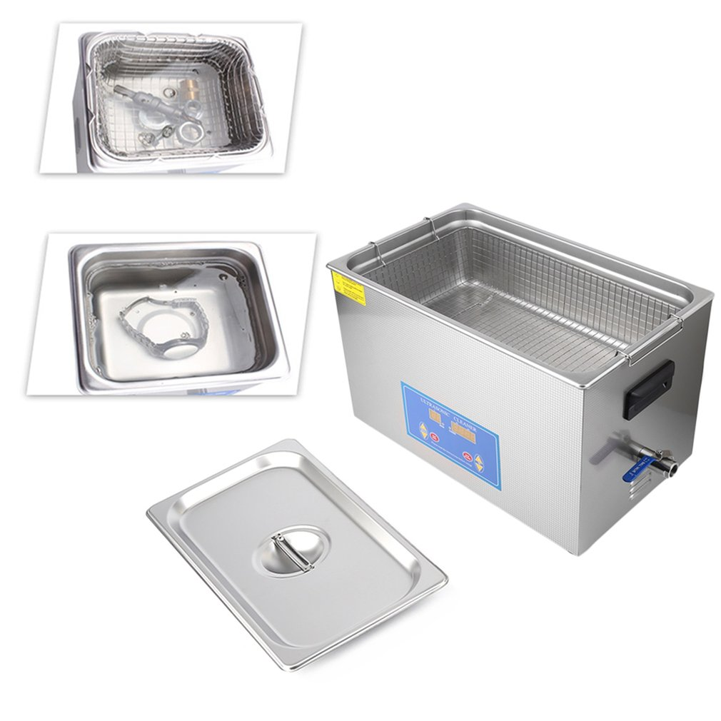 Silver Stainless Steel 22L 480W Liter Industry Heated Ultrasonic Cleaner Heater Timer