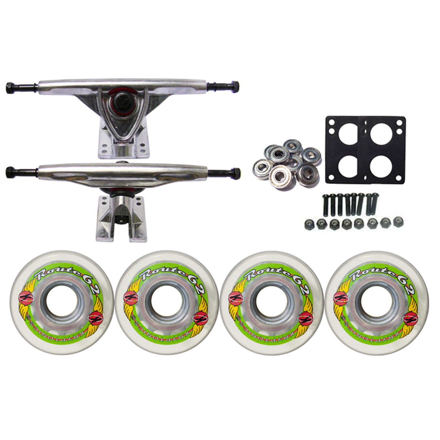 KRYPTONICS ROUTE Truck Wheel Pack 62mm CLEAR 180mm Raw