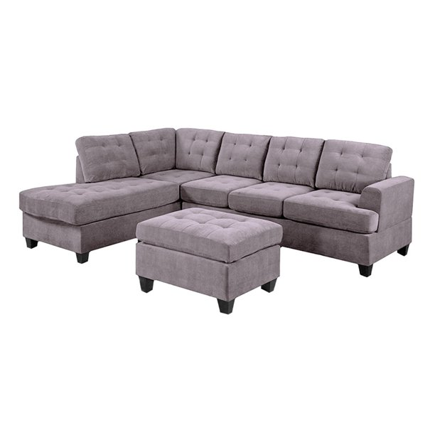 3 Piece Modern Soft Reversible Microfiber Sectional Sofa with Ottoman, Brown