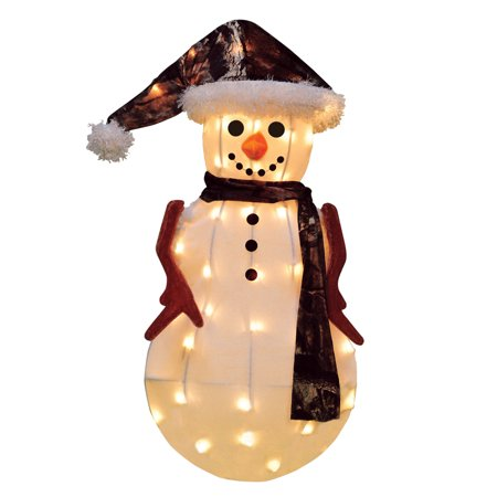 "24"" Pre-Lit Candy Lane Snowman in Camo Christmas Outdoor Decoration - Clear Lights"
