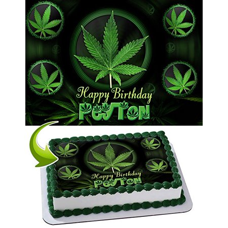Admirable Cannabis Cake Image Personalized Topper Edible Image Cake Topper Funny Birthday Cards Online Alyptdamsfinfo