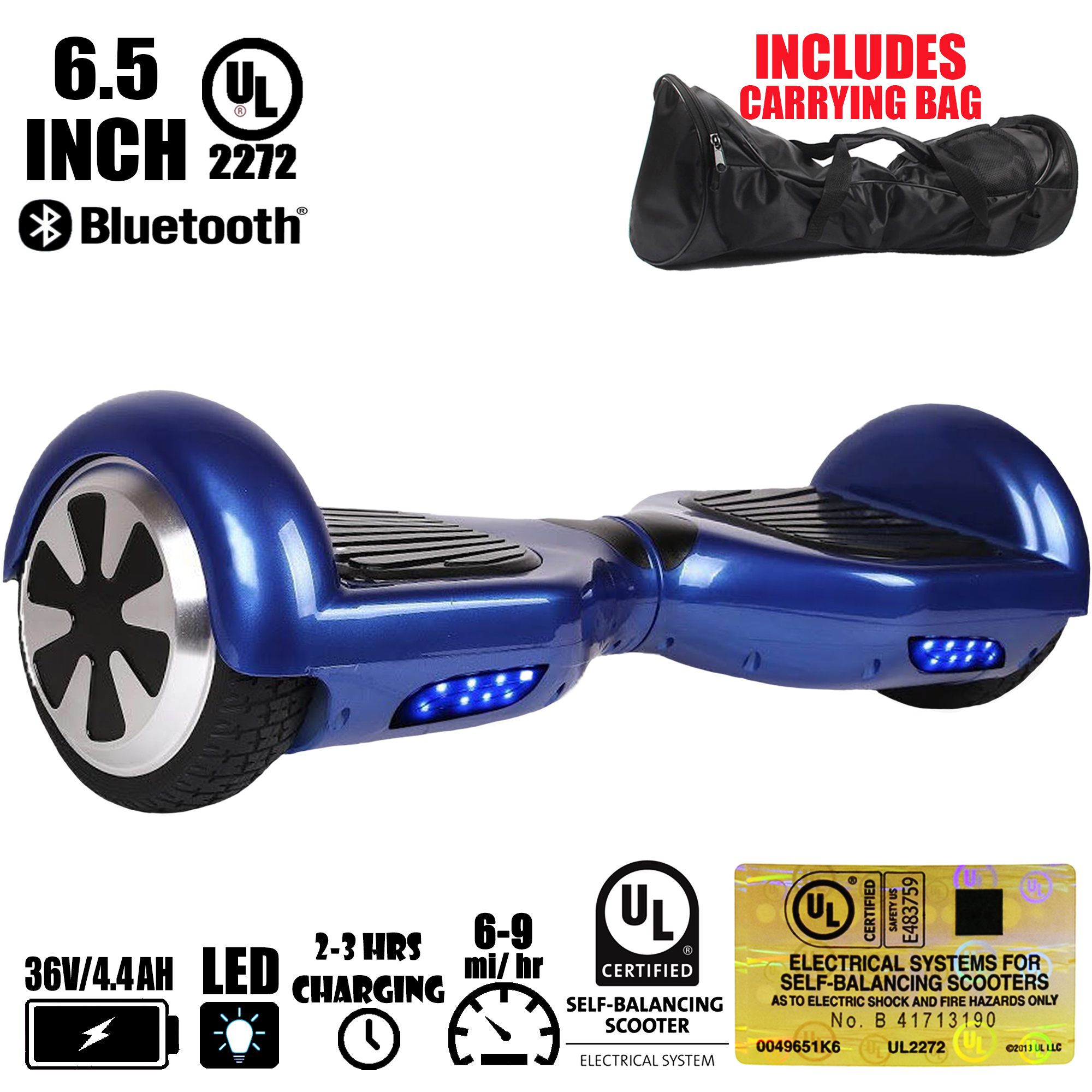 """6.5/"""" Bluetooth Hoverboard Blue Electric Self Balance Smart Scooter No Bag UL2272"""