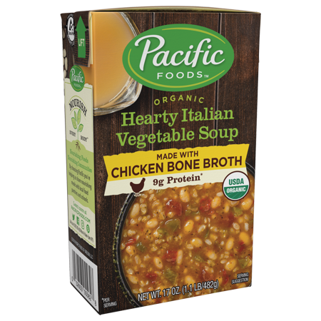 Pacific Foods Organic Bone Broth Hearty Italian Vegetable Soup, 9g Protein per Serving, Nourishing and Flavorful, 17 fl oz ()