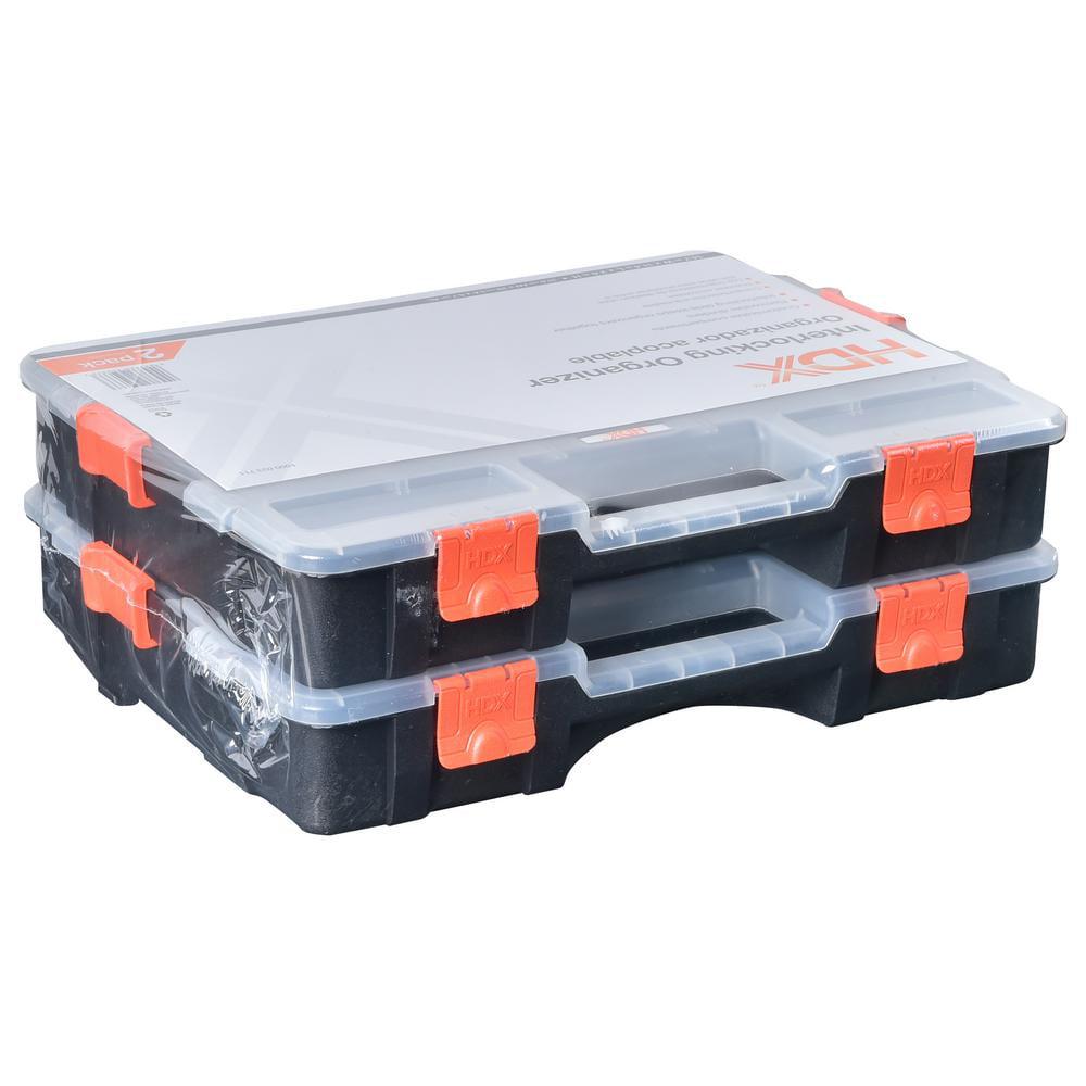 hdx tool box 15 compartment small parts organizer storage black 2pk walmartcom