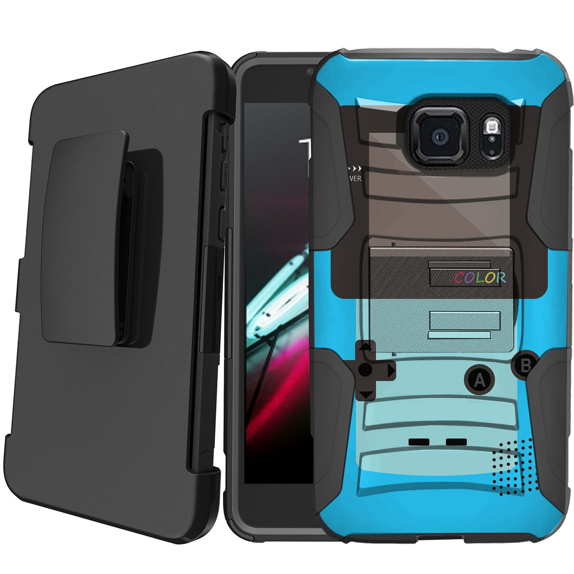 Samsung Galaxy S6 SM-G920 Holster Case [Retro Games Case][Hipster Phone Case Series] w/ Built-In Kickstand + Bonus Holster - Blue Game