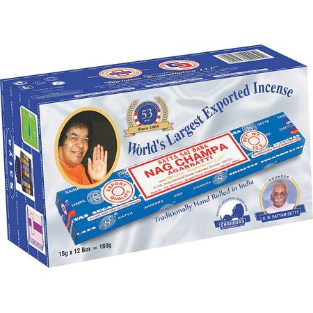 Shrinivas Sugandhalaya Incense - Incense Sticks 15gm (12 packets), Original Handrolled Satya Sai Baba Nagchampa Agarbatti manufactured in Bangalore and Mumbai by Shrinivas Sugandhalaya LLP By Satya Nagchampa