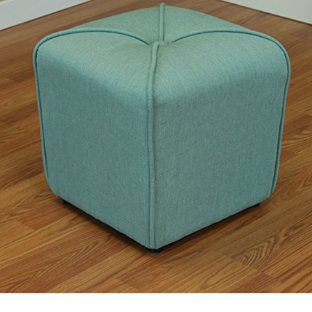 ModHaus Living Modern Linen Upholstered Footstool Ottoman with Thick Foam - Includes Pen (Sea Green)
