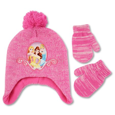 Disney Toddler Girls Princess Character Hat and Mittens Cold Weather Set, Age - Princess Hats