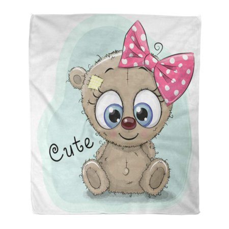 ASHLEIGH Flannel Throw Blanket Babies Black Cute Drawing Bear Girl Blue Brown Soft for Bed Sofa and Couch 58x80 Inches ()
