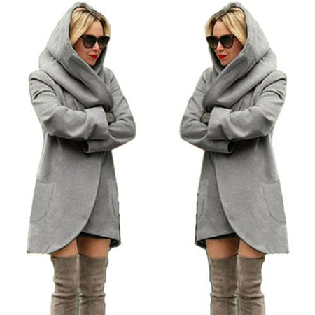 Womens Cocoon Coat Parkas Hoodie Sweatshirt Jacket Cardigan Sweater Long Sleeve Outwear Pullover Tops Casual