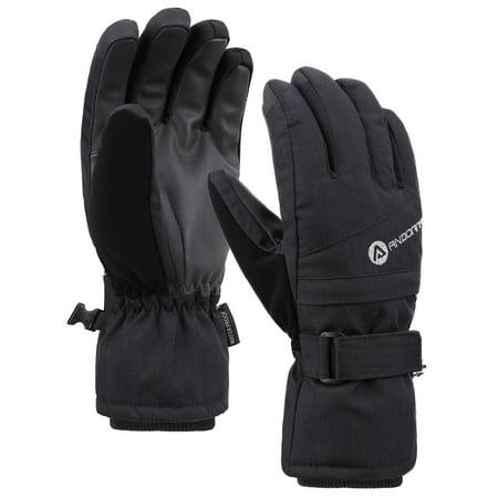 Women's Classic Zippered Pocket Touchscreen Ski Glove,Black,L