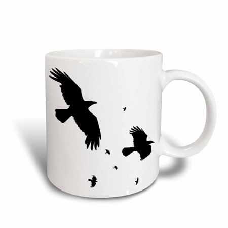 3dRose A Murder of Crows- animal, bird, birds, crow, halloween, myth, mythological, mythology, silhouette, Ceramic Mug, 15-ounce - Halloween Crow Silhouette