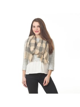 Saro Women's Grey Plaid Knitted Shawl