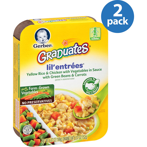 Gerber Graduates Lil' Entrees Yellow Rice & Chicken with Vegetables in Sauce with Green Beans & Carrots, 6.67 oz (Pack of 2)