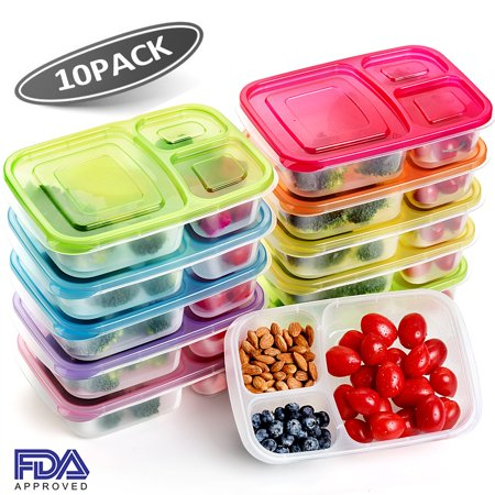 10 pack Meal Prep Containers Food Storage Lunch Boxes BPA Free Bento Lunch box Set with lids Leak Proof,Resuable,Stackable,Microwaveable,Freezer and Dishwasher Safe with Leak Proof Bag (Waste Free Lunch)