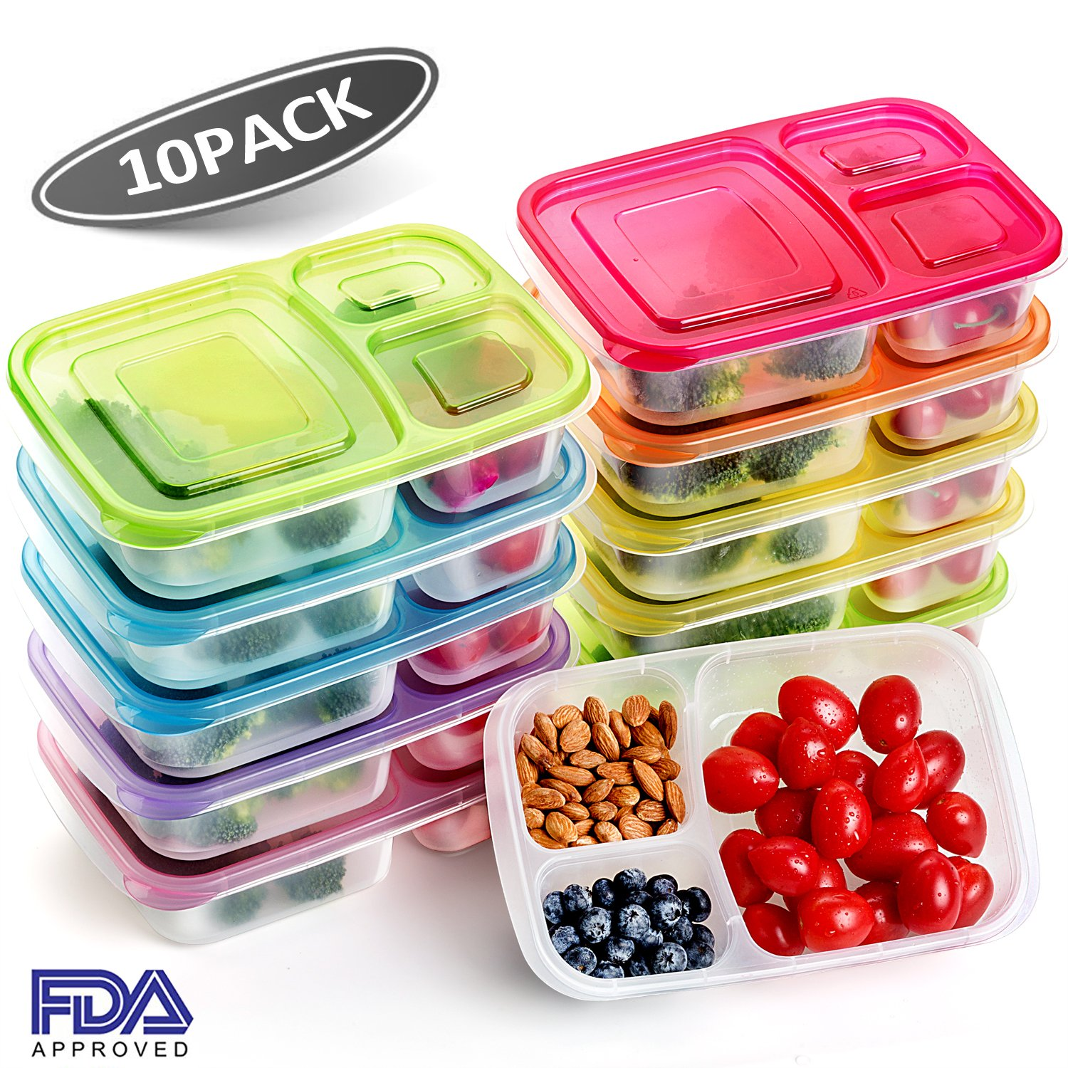 10 pack Meal Prep Containers Food Storage Lunch Boxes BPA Free Bento Lunch box Set with lids Leak Proof,Resuable,Stackable,Microwaveable,Freezer and Dishwasher Safe with Leak Proof Bag