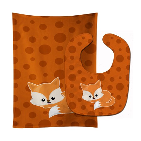 Baby Fox Polkadot Baby Bib & Burp Cloth BB7086STBU (A Baby Polka Dot Bib)