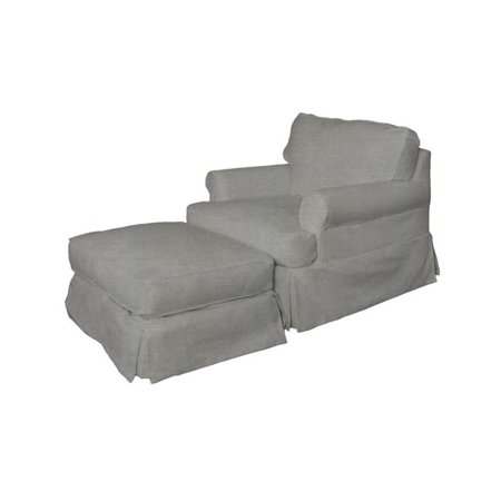 Chair And Ottoman Slipcover (Sunset Trading SU-117620-30-391094 Horizon Slipcovered Chair & Ottoman, Peyton Slate )
