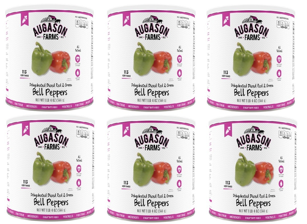 Augason Farms Dehydrated Red and Green Bell Peppers 6 Cans Combo by