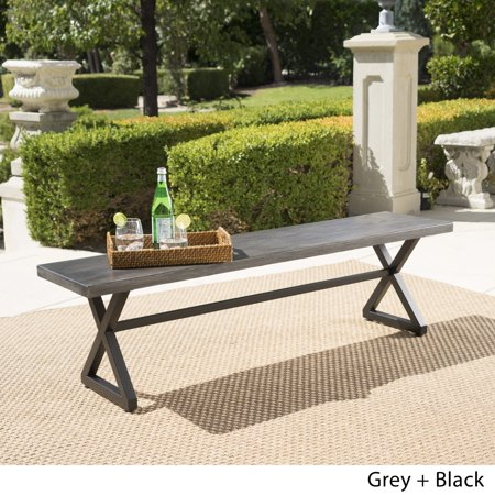 Christopher Knight Home Rolando Outdoor Aluminum Dining Bench By Grey