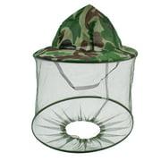 Green Dark Brown Camouflage Print Nylon Mesh Hood Anti Mosquito Fishing Hat