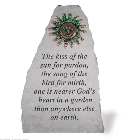 KayBerry Cast Stone Garden Accent Marker The kiss of the sun w/ metal sun insert