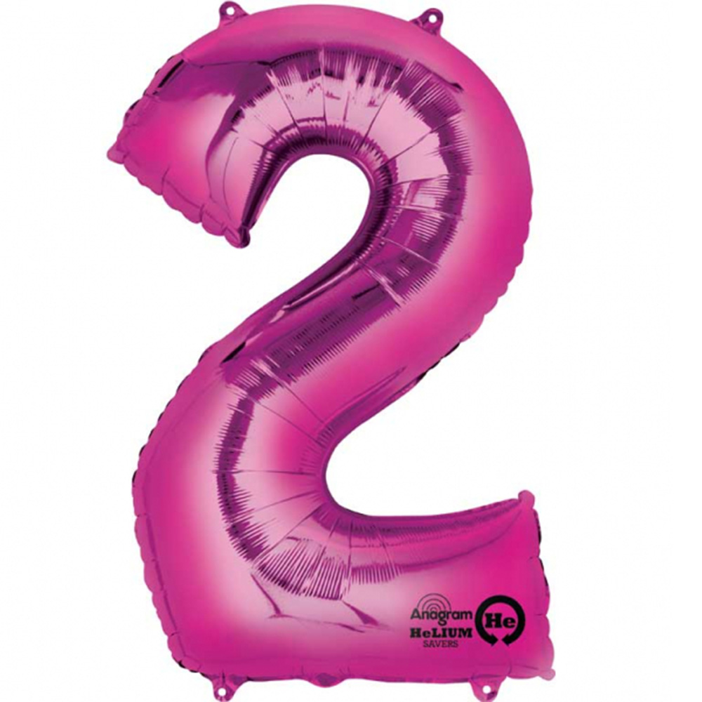 Mayflower Distributing 63725 34 inch 2 PINK NUMBER SHAPE BALLOON -PKG