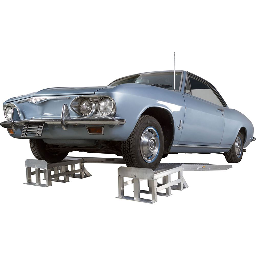 Low-Profile Aluminum Vehicle Service Stands with Removable Ramps