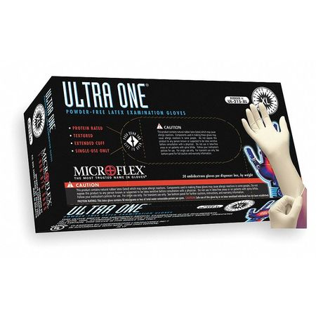 Microflex Ultra One L Disposable Gloves, Latex, Natural, UL-315-L