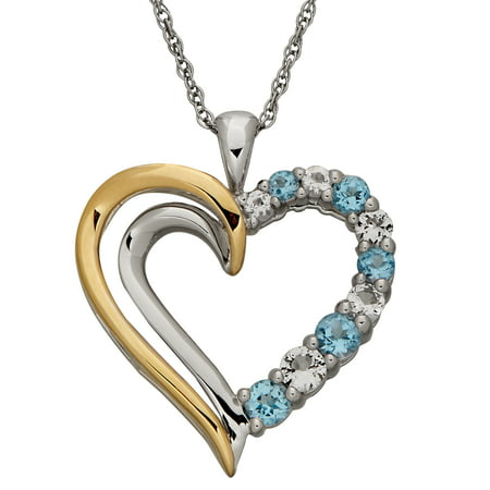 Blue with White Topaz Sterling Silver and 10kt Yellow Gold Open Heart Pendant, 18