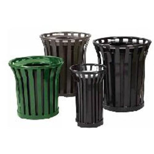 Steel Trash Receptacle with Decorative Rim and Flat Top Lid (Ash Urn Lid/Black)