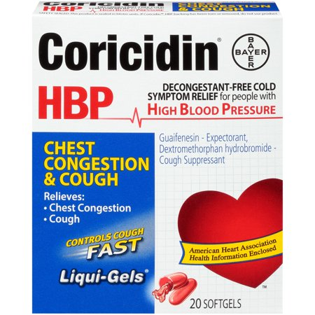 Coricidin HBP, Chest Congestion & Cough Liquid Gels, 20