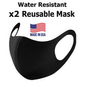 (2 Pack) Reusable Face Covering Mask Washable Polyester Water Resistant For Men or Women Mascaras Para La Cara