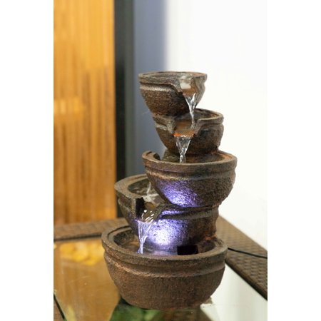 Alpine Corporation 3-Tiered Bowls Tabletop Fountain with LED Lights ()