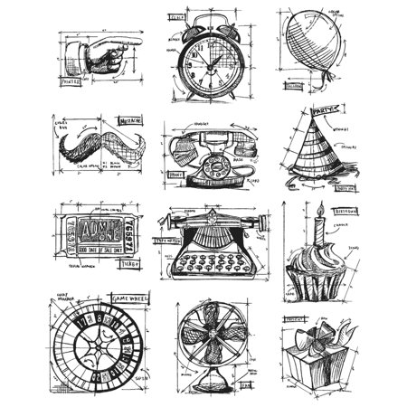"""Tim Holtz Cling Stamps 7""""X8.5""""-Mini Blueprints #4 - image 1 of 1"""