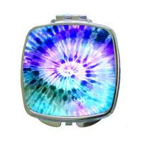 Blue-Purple Tie Dye - Compact Square Silvertone Mirror