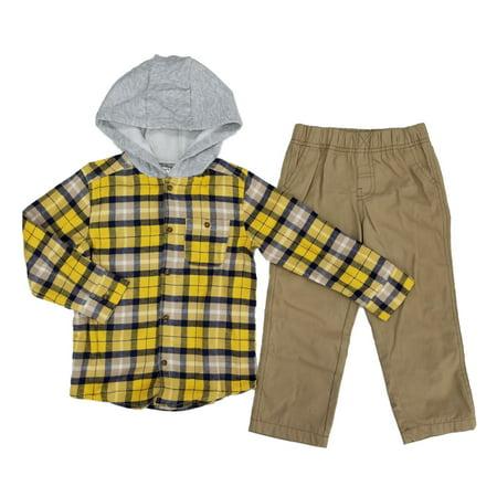 5a4cb3102 Carters - Carters Toddler Boys 2-Piece Yellow Plaid Flannel Hooded Shirt &  Khaki Pants Set - Walmart.com