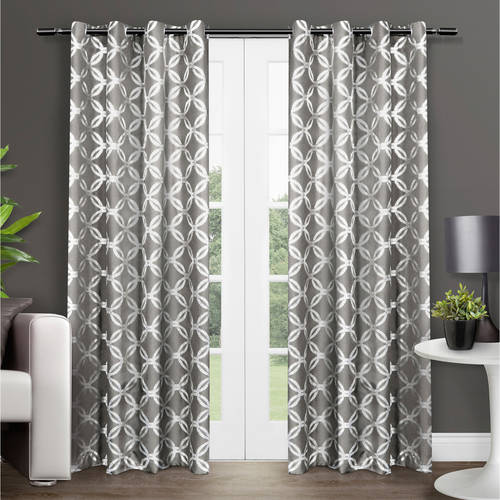 Exclusive Home Curtains 2 Pack Modo Metallic Geometric Grommet Top Curtain Panels