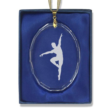 Oval Crystal Christmas Ornament - Ballet Dancer Man
