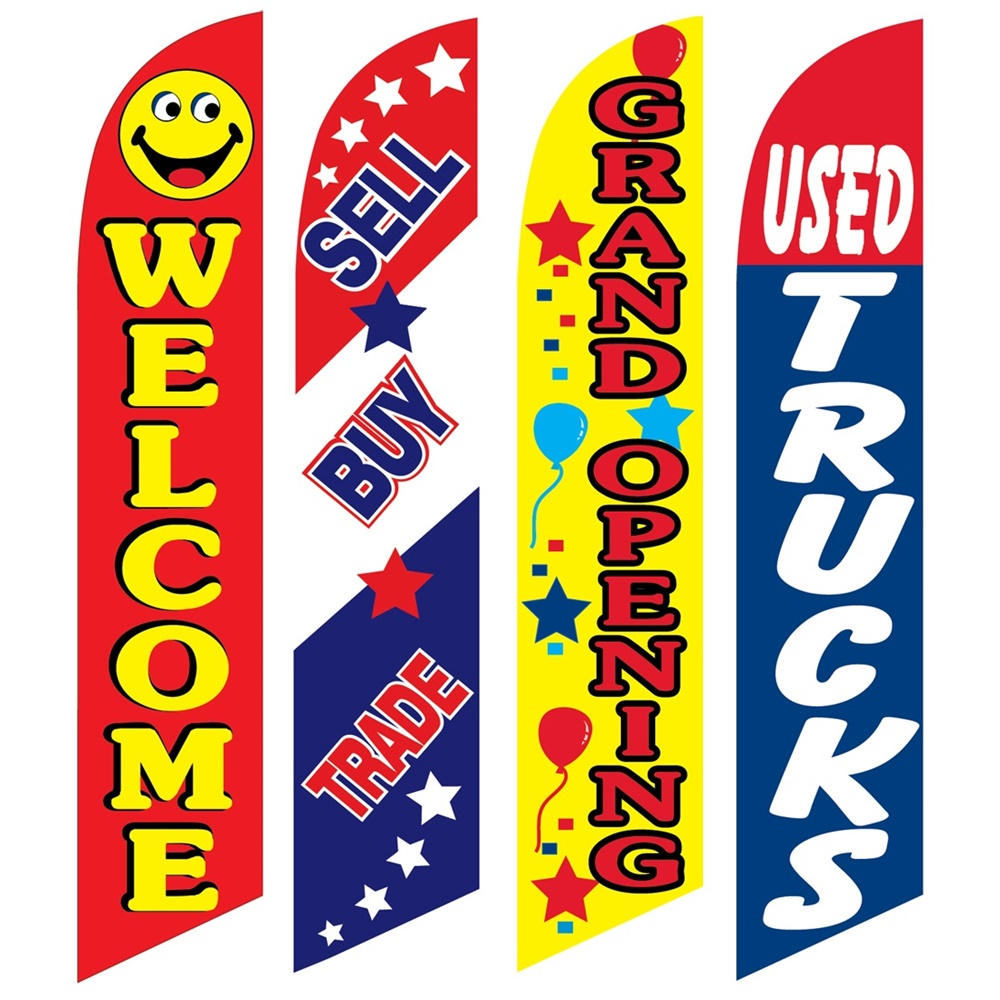 4 Advertising Swooper Flags Welcome Sell Buy Trade Grand Opening Used Trucks