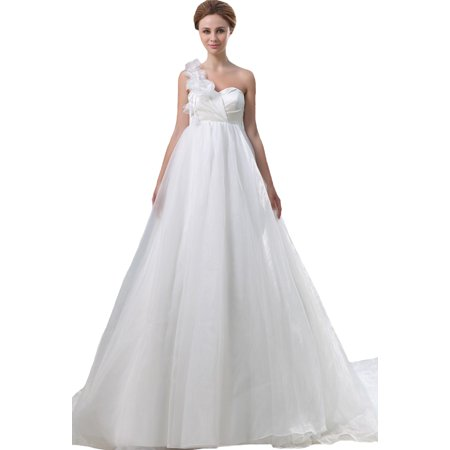 a2adde4e03b4 Albizia One Shoulder Floral Chapel Train Organza Maternity Wedding  Dresses(10,Ivory)