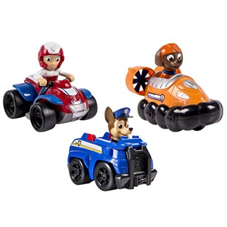 Nickelodeon, Paw Patrol - Rescue Racers 3pk Vehicle Set Chase, Zuma, Ryder (Reader Rescue)
