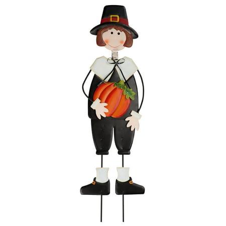 Thanksgiving Yard Stakes (Miles Kimball Pilgrim Boy Metal Lawn Stake by Maple Lane Creations, Thanksgiving Yard)
