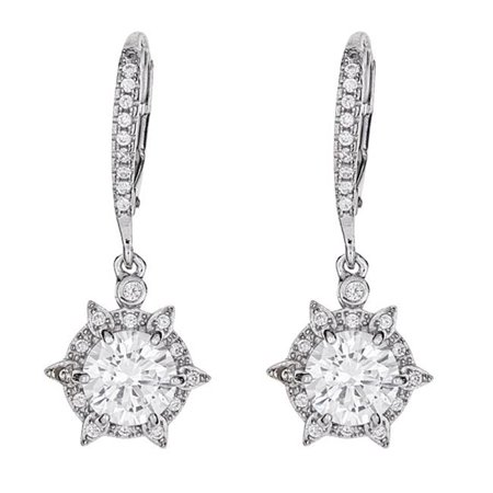 YGI SZE4400W2W Sterling Silver Rhodium Micropave Thorn Round Dangling Earring - image 1 of 1