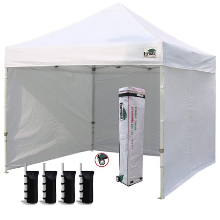 eurmax 10x10 ez pop up canopy outdoor canopy instant tent with 4 zipper sidewalls and roller bag,bouns 4 weight bags (white)