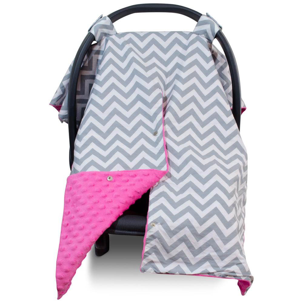 Kids N' Such 2 in 1 Car Seat Canopy Cover with Peekaboo Opening™ - Large Chevron Carseat Cover with Hot Pink Dot Minky | Best for Baby Girls and Boys | Doubles as a Nursing Cover for Breastfeeding