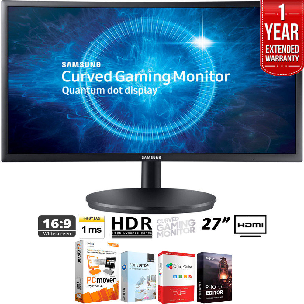 "Samsung 27"" Black Curved LED 1920x1080 16:9 144hz Gaming Monitor - LC27FG70FQNXZA + Elite Suite 18 Standard Editing Software Bundle + 1 Year Extended Warranty"