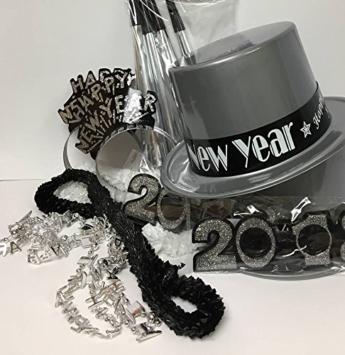 New Years Black And Silver Party Package Hats, Horns, Leis, Glasses Supplies