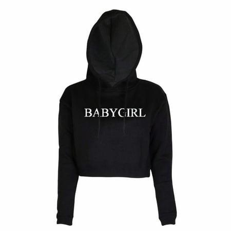 Women New BABYGIRL Fashion Letters Printed Short Black White Crewneck Hoodies Sweatshirt Long Sleeve Crop Tops ()