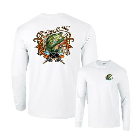 Heart Fishing T-shirt (Big Bass Fishing Living The Reel Life Long Sleeve)